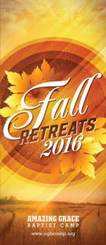 Brochure cover design for Christian camp fall theme