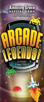 Brochure cover design for Christian camp video game retro theme