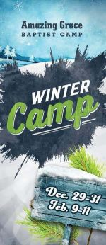 Brochure cover design for Christian camp winter theme