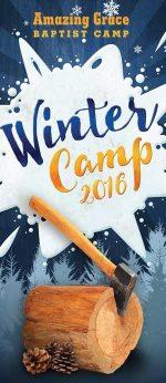 Brochure cover design for Christian camp luberjack theme