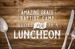 Direct mail postcard design for Christian camp luncheon