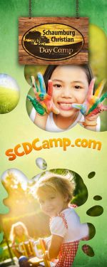 vertical roll-up banner for summer camp - playground theme