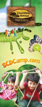 vertical roll-up banner for summer camp - climbing theme