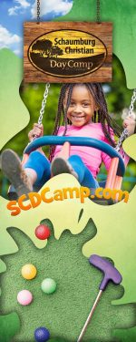 vertical roll-up banner for summer camp - activity theme